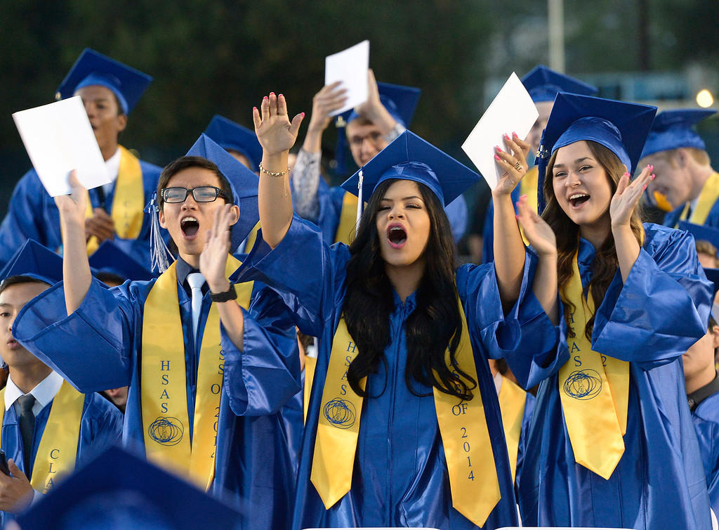 . Grads cheer for their classmates at the North Hollywood High School graduation for the class of 2014. Los Angeles, CA. 6/6/2014(Photo by John McCoy Daily News)