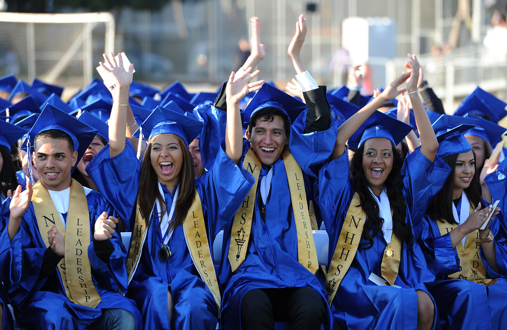 . Grads cheer for their classmates at North Hollywood High School graduation for the class of 2014. Los Angeles, CA. 6/6/2014(Photo by John McCoy Daily News)