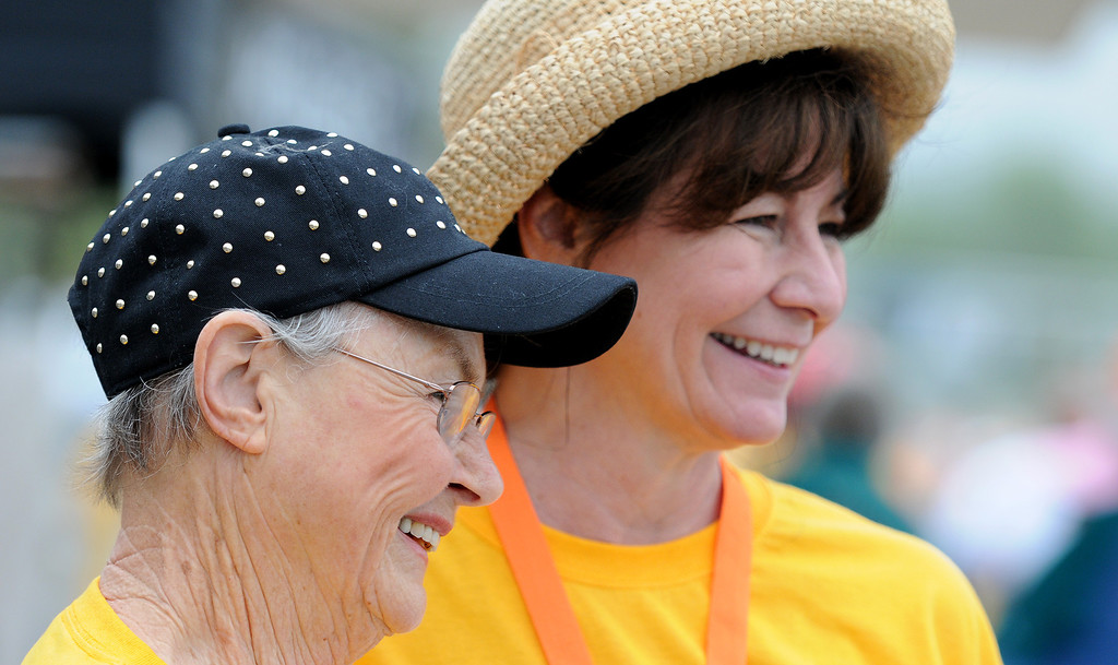 . Susan Stearns and Angel Moser enjoy the fundraiser.  New Horizons, the North Hills nonprofit celebrated its 60 years of serving special needs adults Saturday, June 7, 2014, during a 5K walk/run at Hansen Dam with a fitness, health and business expo.  (Photo by Dean Musgrove/Los Angeles Daily News)