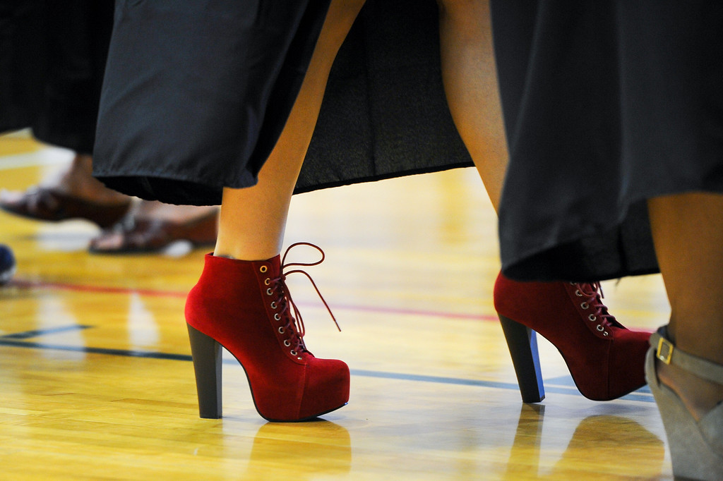 . Shoe fashion at  the Los Angeles Valley College graduation, Tuesday, June 10, 2014. (Photo by Michael Owen Baker/Los Angeles Daily News)