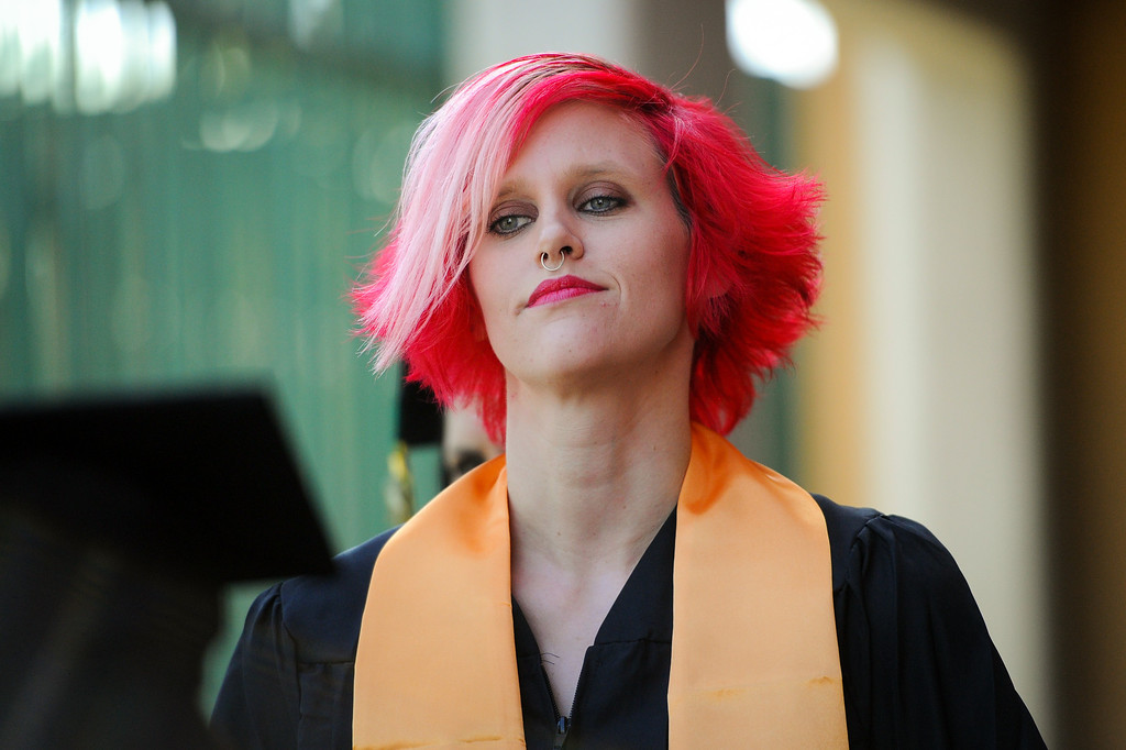 . Journalism major Brittany Bagwell stands in line before the Los Angeles Valley College graduation, Tuesday, June 10, 2014. (Photo by Michael Owen Baker/Los Angeles Daily News)