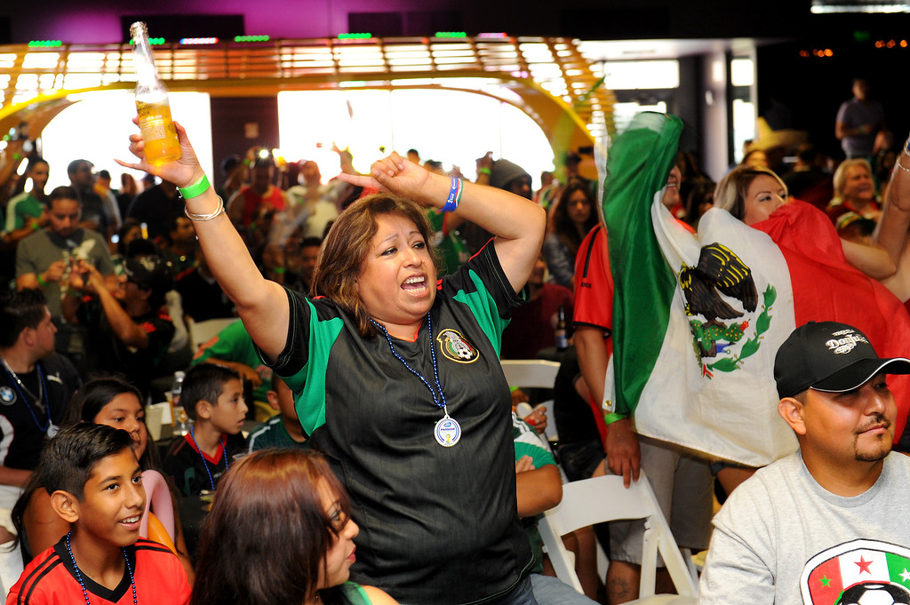 . Mexico soccer fans cheer at the Mexico vs Brazil viewing party at the Conga Room at L.A. Live, Tuesday, June 17, 2014. (Photo by Michael Owen Baker/Los Angeles Daily News)