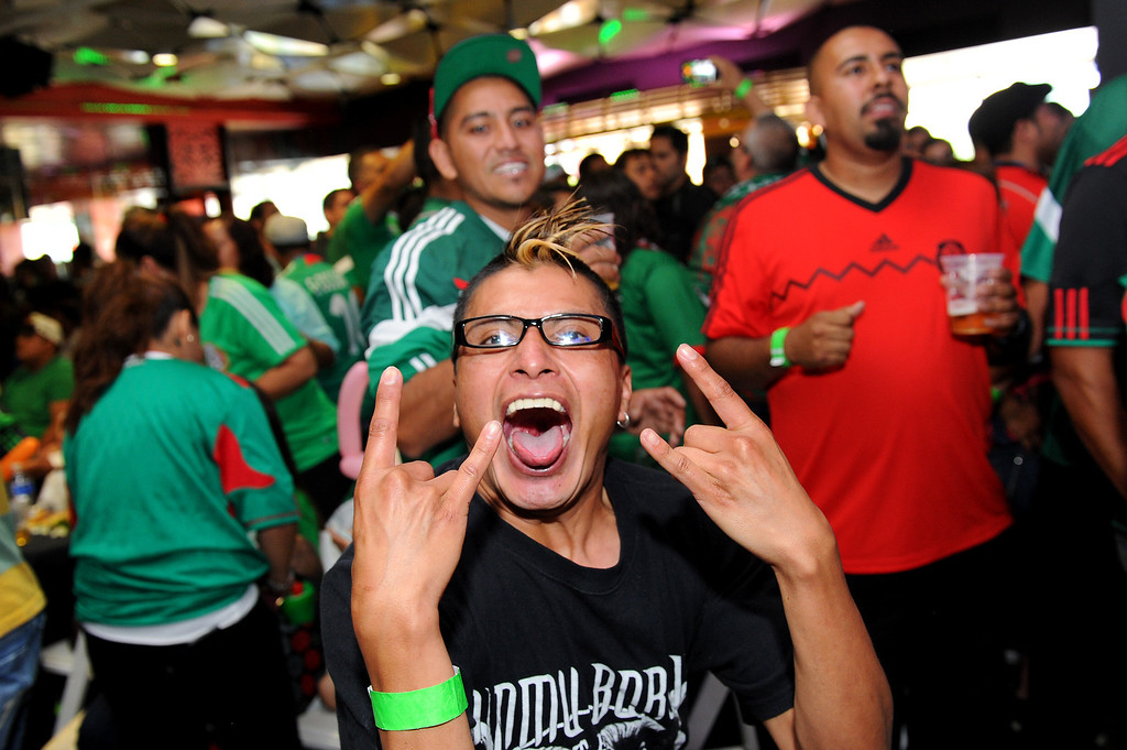 . Mexico soccer fans cheer the Mexico vs Brazil World Cup game at a viewing party at the Conga Room at L.A. Live, Tuesday, June 17, 2014. (Photo by Michael Owen Baker/Los Angeles Daily News)