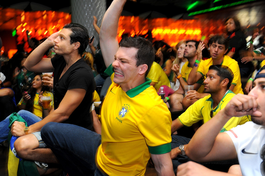 . Brazil soccer fans watch the Mexico vs Brazil World Cup game at viewing party at the Conga Room at L.A. Live, Tuesday, June 17, 2014. (Photo by Michael Owen Baker/Los Angeles Daily News)