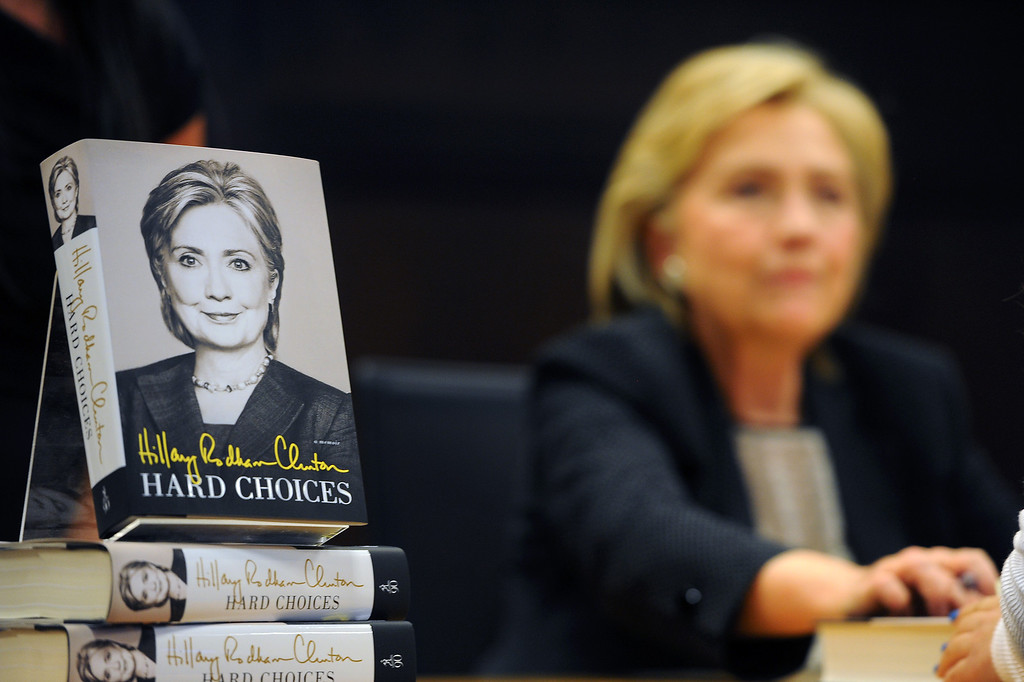 ". Hillary Rodham Clinton signs her book ""Hard Choices\"" at Barnes & Noble at The Grove, Thursday, June 19, 2014. (Photo by Michael Owen Baker/Los Angeles Daily News)"