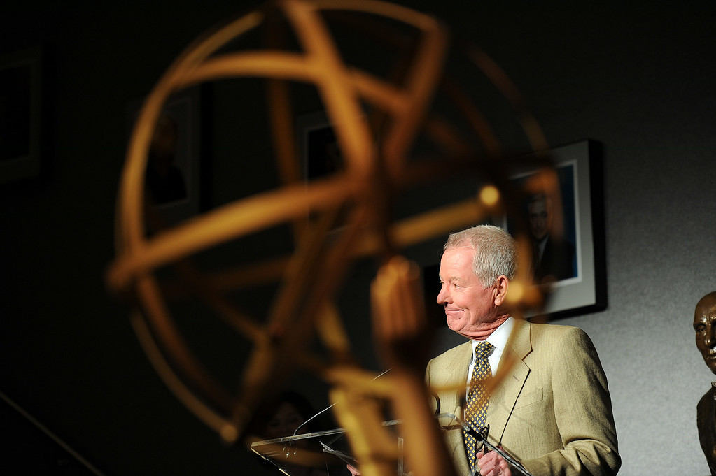 . Governors Ball Committee Chair  Russ Patrick speaks during the 66th Emmy Awards Governors Ball sneak peek press preview at Television Academy, Leonard H. Goldenson Theatre in North Hollywood Wednesday, July 23, 2014. (Photo by Hans Gutknecht/Los Angeles Daily News)