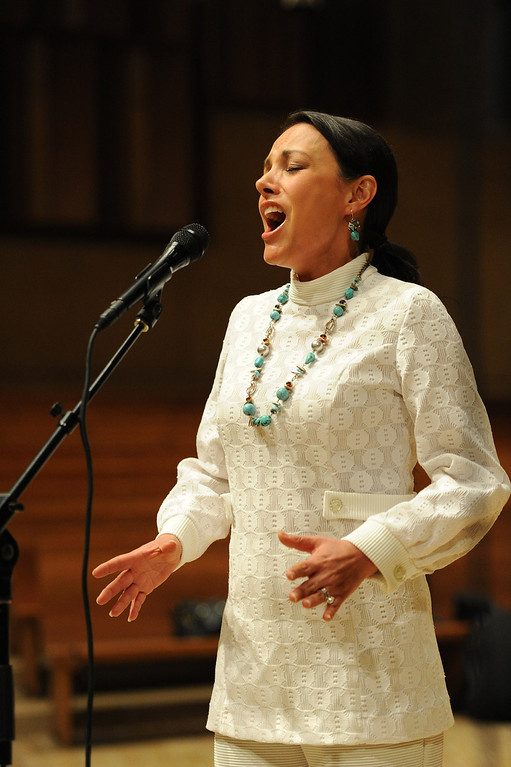 . 2009 Americas Got Talent runner up Barbara Padilla sings. Singers and Mariachi rehearse the celebration in honor of Our Lady of Guadalupe at the Cathedral of the Lady of the Angels, 555 W. Temple Street.  Wednesday December 11, the annual celebration will begin at 8 p.m. with Aztec dancers on the Cathedral Plaza. At 10 p.m. the celebration continues inside the Cathedral for a special Rosary. Los Angeles, CA. 12/7/2013, photo by (John McCoy/Los Angeles Daily News)