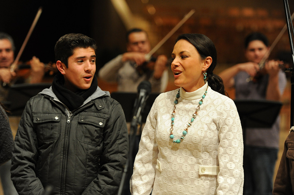. Ruben Sandoval and Barbara Padila sing. Singers and Mariachi rehearse the celebration in honor of Our Lady of Guadalupe at the Cathedral of the Lady of the Angels, 555 W. Temple Street.  Wednesday December 11, the annual celebration will begin at 8 p.m. with Aztec dancers on the Cathedral Plaza. At 10 p.m. the celebration continues inside the Cathedral for a special Rosary. Los Angeles, CA. 12/7/2013, photo by (John McCoy/Los Angeles Daily News)