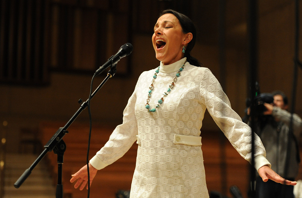 . 2009 America�s Got Talent runner-up Barbara Padilla sings. Singers and Mariachi rehearse the celebration in honor of Our Lady of Guadalupe at the Cathedral of the Lady of the Angels, 555 W. Temple Street.  Wednesday December 11, the annual celebration will begin at 8 p.m. with Aztec dancers on the Cathedral Plaza. At 10 p.m. the celebration continues inside the Cathedral for a special Rosary. Los Angeles, CA. 12/7/2013, photo by (John McCoy/Los Angeles Daily News)
