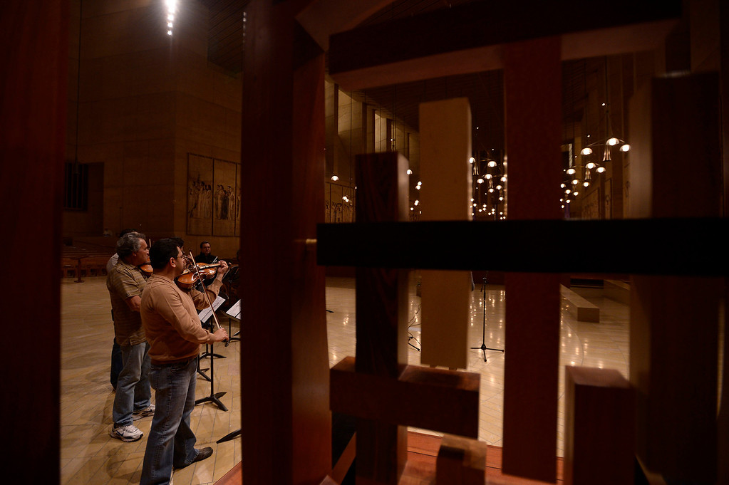 . Singers and Mariachi rehearse the celebration in honor of Our Lady of Guadalupe at the Cathedral of the Lady of the Angels, 555 W. Temple Street.  Wednesday December 11, the annual celebration will begin at 8 p.m. with Aztec dancers on the Cathedral Plaza. At 10 p.m. the celebration continues inside the Cathedral for a special Rosary. Los Angeles, CA. 12/7/2013, photo by (John McCoy/Los Angeles Daily News)