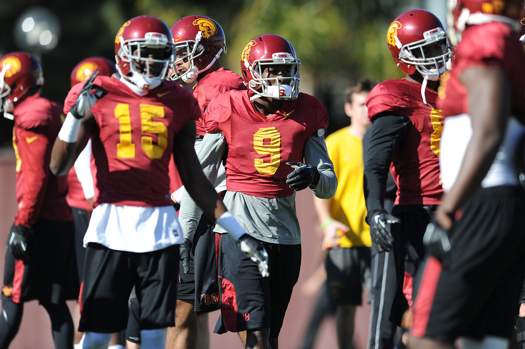 . Marqise Lee, #9, during practice. USC Coach Clay Helton held the final Saturday practice of the season before the Trojans play Fresno State on December 21 in Las Vegas. Los Angeles, CA. 12/14/2013, photo by (John McCoy/Los Angeles Daily News)