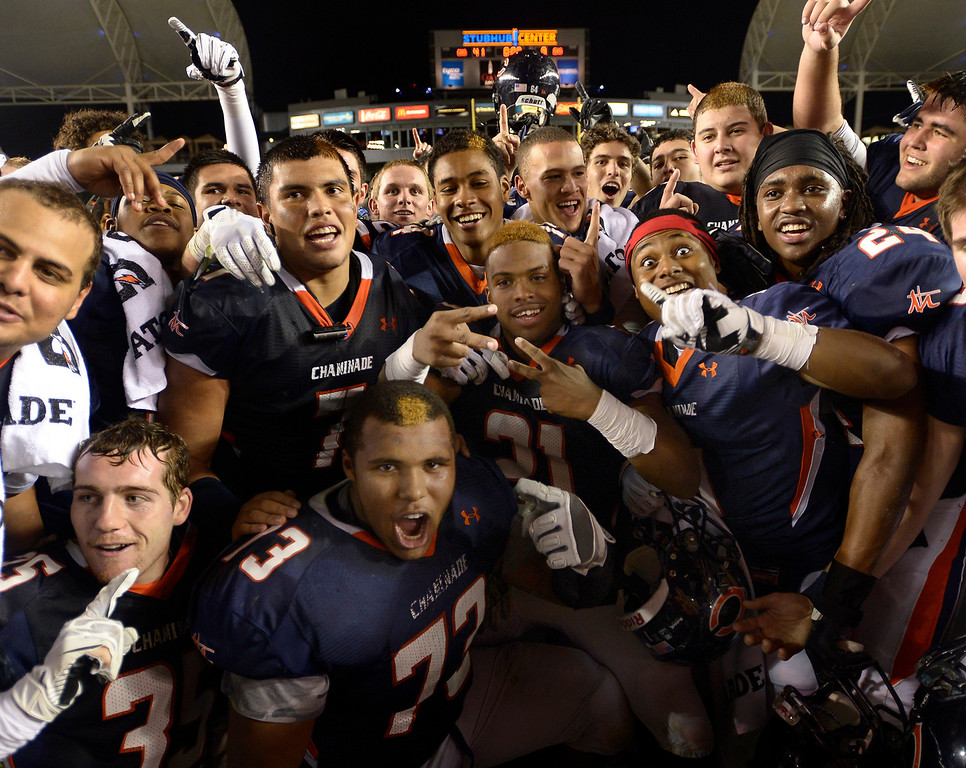. The Eagles of Chaminade celebrate after they defeated Enterprise 41-9 to win the CIF Division II State Championship. Carson, CA 12-21-2013. photo by (John McCoy/Los Angeles Daily News)