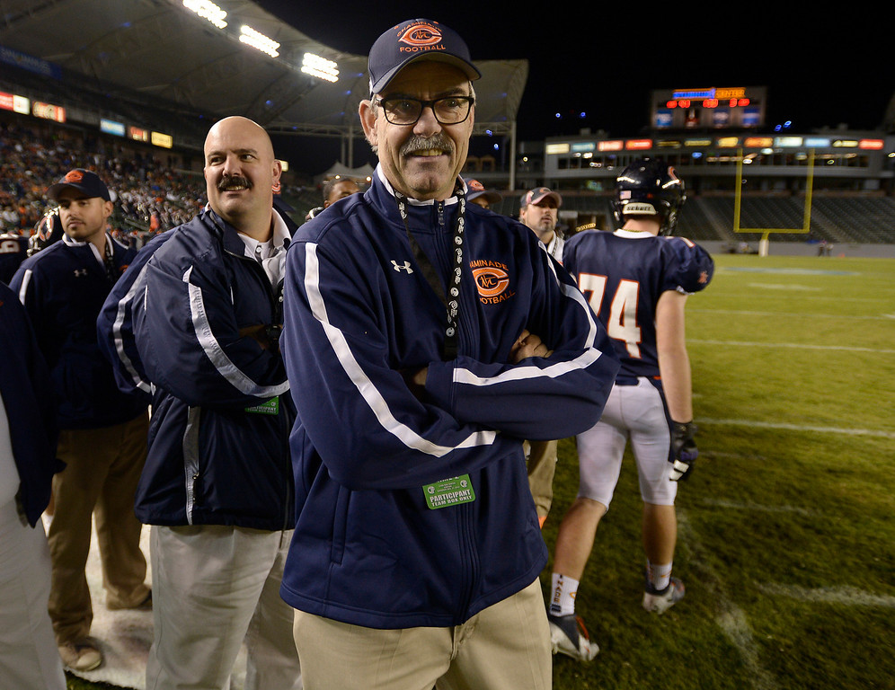 . Chaminade coach Ed Croson is all smiles in the final moments of the game. Chaminade defeated Enterprise 41-9 to win the CIF Division II State Championship. Carson, CA 12-21-2013. photo by (John McCoy/Los Angeles Daily News)