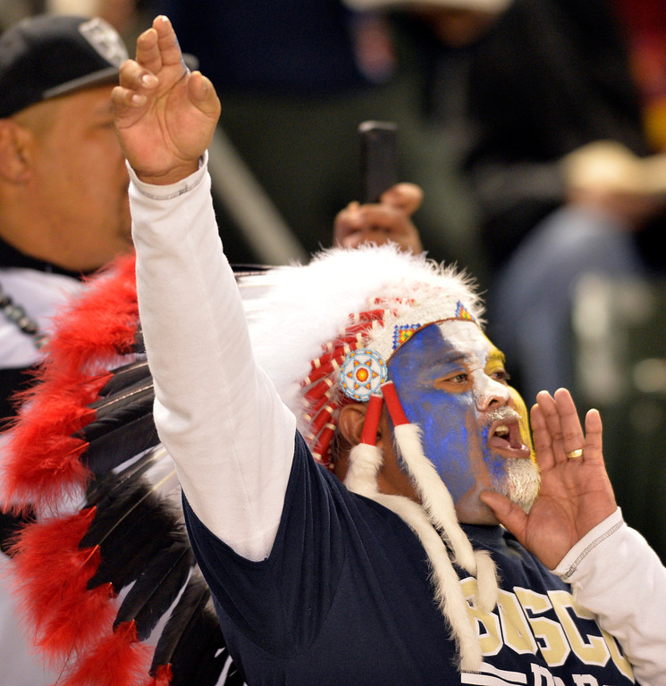. St. John Bosco supporter gets pumped up as the team takes the field against DeLa Salle at the CIF State Football Bowl Championship in Carson, CA. Saturday December 21, 2013.   (Thomas R. Cordova/Press-Telegram/Daily Breeze)