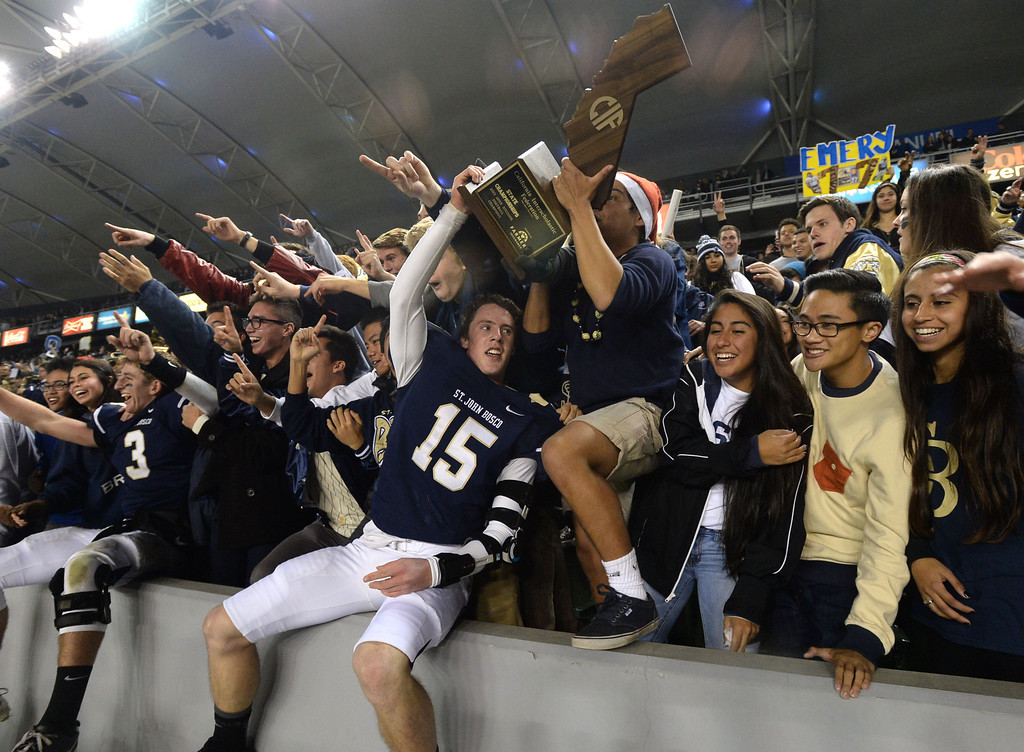 . St. John Bosco\'s Brett Baldwin (15) celebrates beating De La Salle in the CIF State Football Bowl Championships Saturday, December 21, 2013, at the Stub Hub Center in Carson, CA.   Bosco won 20-14. Photo by Steve McCrank/DailyBreeze