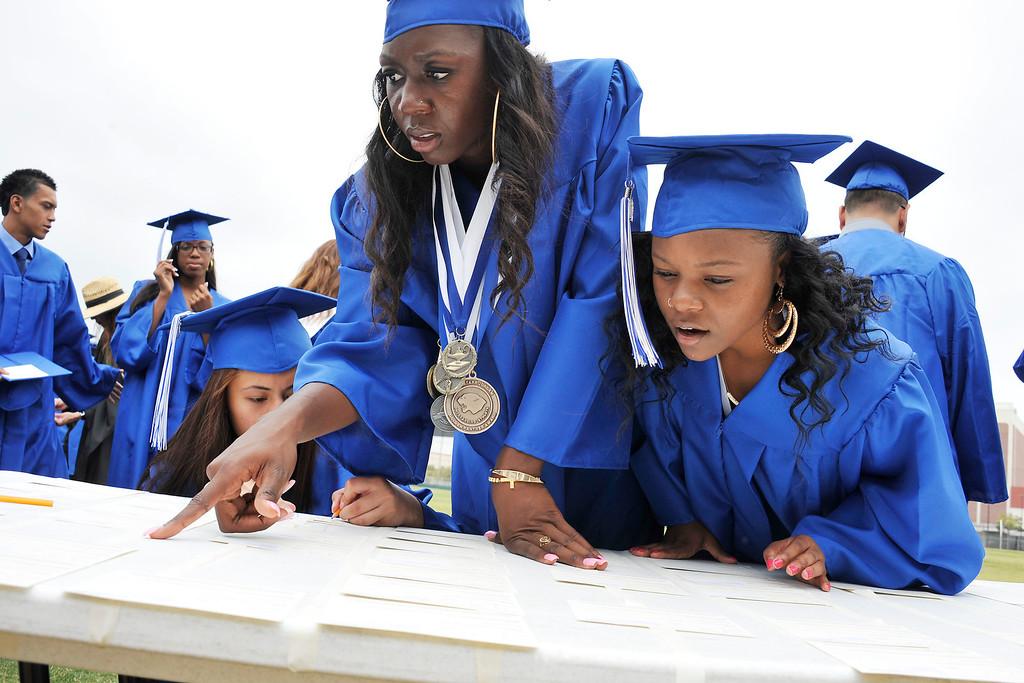 . LONG BEACH- 6/12/2013 - (Mark Savage) Students attend Jordan High School commencement at Veterans Memorial Stadium.