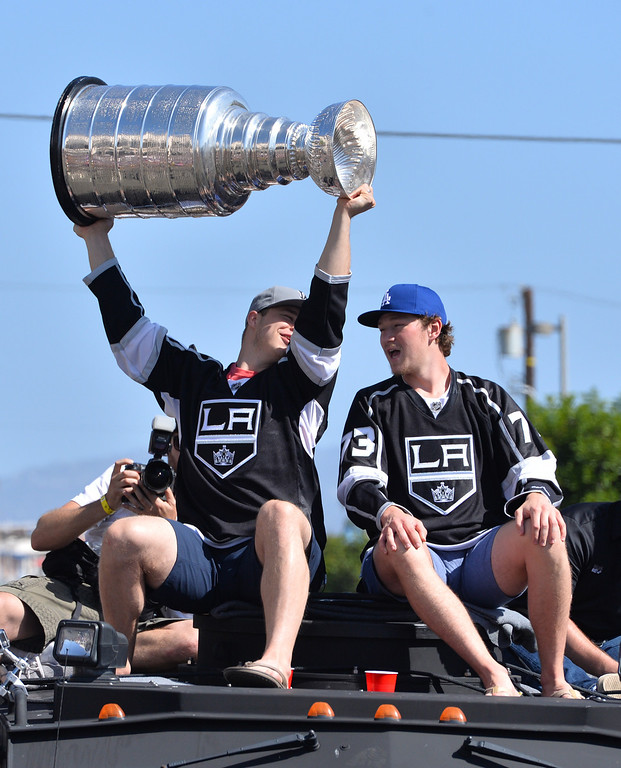 . LA Kings Dustin Brown and Tyler Toffoli  lead the Kings parade through the cities of Redondo Beach, Hermosa Beach, and Manhattan Beach. (June 18, 2014. Photo by Brad Graverson/The Daily Breeze)