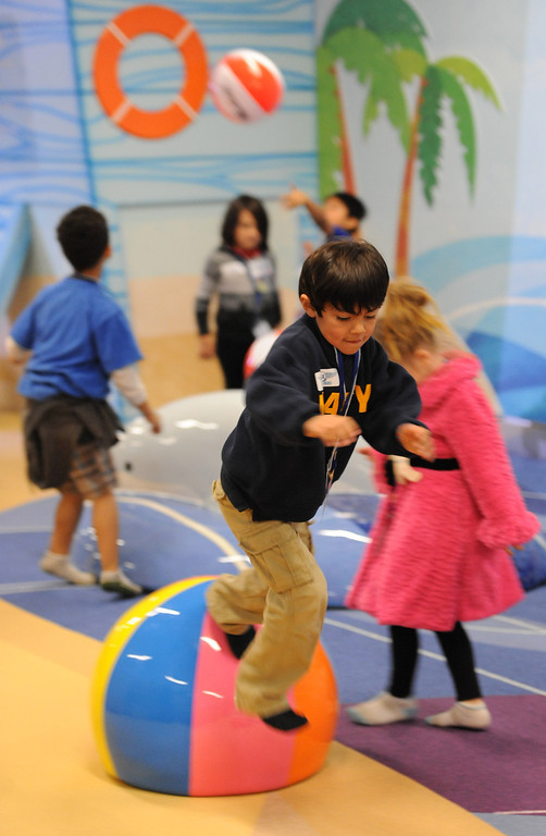 . At LAX, a new play space for kids age 2-8 opened inside the new Tom Bradley International Terminal. Lots of fun soft shapes to play and jump on.   (Dec 19, 2013. Photo by Brad Graverson/The Daily Breeze)
