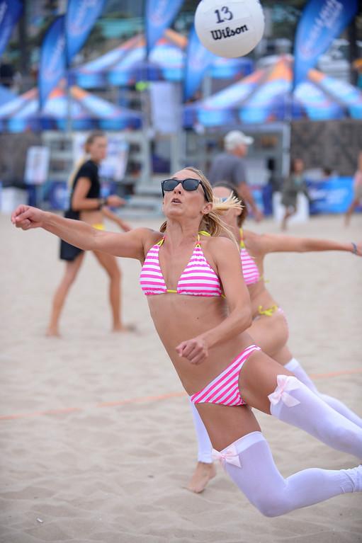 . The Bridesmaids. Manhattan Beach Charlie Saikley 6-man beach volleyball tournament.   Photo by Brad Graverson 7-31-13