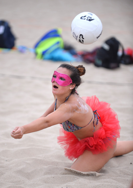 . Monica Stauber with team Sparkle. Manhattan Beach Charlie Saikley 6-man beach volleyball tournament.   Photo by Brad Graverson 7-31-13