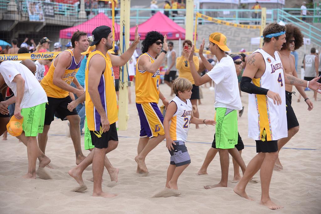 . Manhattan Beach Charlie Saikley 6-man beach volleyball tournament.   Photo by Brad Graverson 7-31-13