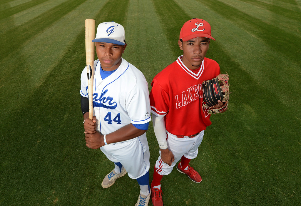 . Long Beach, Calif., -- 06-12-13- All Area Baseball - Co-Players of the Year  Kevin Franklin of Gahr, left,  and JP Crawford of Lakewood    Stephen Carr/  Los Angeles Newspaper Group