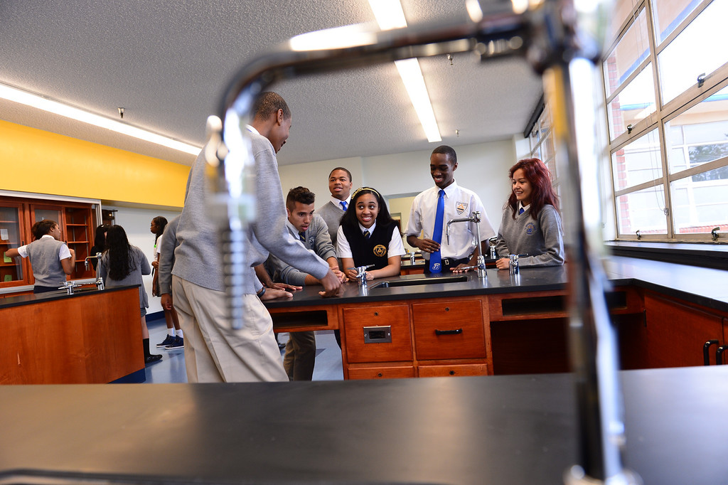 . New chemistry lab. Ribbon cutting event at St. Bernard High School in Playa Del Rey to recognize renovated school facilities. New chemistry and computer labs, library and student union.   Photo by Brad Graverson 8-20-13