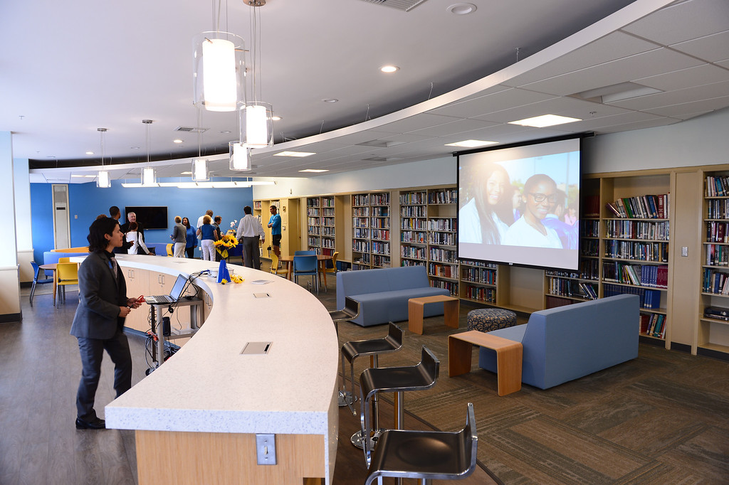 . New library at St. Bernard High School in Playa Del Rey. Event to recognize renovated school facilities. New chemistry and computer labs, library and student union.   Photo by Brad Graverson 8-20-13