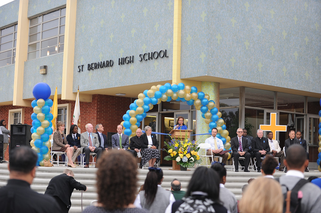. Principal Cynthia Hoepner. Ribbon cutting event at St. Bernard High School in Playa Del Rey to recognize renovated school facilities. New chemistry and computer labs, library and student union.   Photo by Brad Graverson 8-20-13