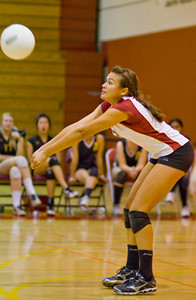 Apaches' Ashley Ethridge (8) returns the ball during a first round CIF Playoff volleyball match between the Arcadia High School Apaches and the visiting Diamond Bar Brahmas in Arcadia, CA on November 10, 2009.  (STAR/TRIB/Correspondent photo by David Thomas/SPORTS)