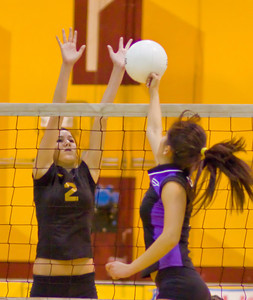Brahmas' Kate Corbett (7) punches the ball as Apaches' Tj Degraaf (2) defends during a first round CIF Playoff volleyball match between the Arcadia High School Apaches and the visiting Diamond Bar Brahmas in Arcadia, CA on November 10, 2009.  (STAR/TRIB/Correspondent photo by David Thomas/SPORTS)
