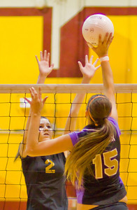 Brahmas' Morgan Bender (15) taps the ball past the outstretched arms of Apaches' defender Tj Degraaf (2) during a first round CIF Playoff volleyball match between the Arcadia High School Apaches and the visiting Diamond Bar Brahmas in Arcadia, CA on November 10, 2009.  (STAR/TRIB/Correspondent photo by David Thomas/SPORTS)