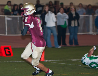 Spartans' Josh Hanson (2) scores a touchdown during a football game between the La Canada High School Spartans and the visiting Monrovia High School Wildcats in La Canada, CA on November 6, 2009.  (STAR-NEWS/Correspondent photo by David Thomas/SPORTS)
