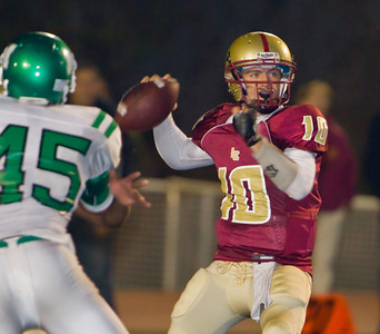 Spartans' Rocky Moore (10) throws a pass during a football game between the La Canada High School Spartans and the visiting Monrovia High School Wildcats in La Canada, CA on November 6, 2009.  (STAR-NEWS/Correspondent photo by David Thomas/SPORTS)
