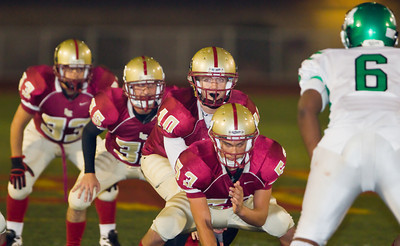 The Spartans' Rocky Moore (10) leads the offense during a football game between the La Canada High School Spartans and the visiting Monrovia High School Wildcats in La Canada, CA on November 6, 2009.  (STAR-NEWS/Correspondent photo by David Thomas/SPORTS)
