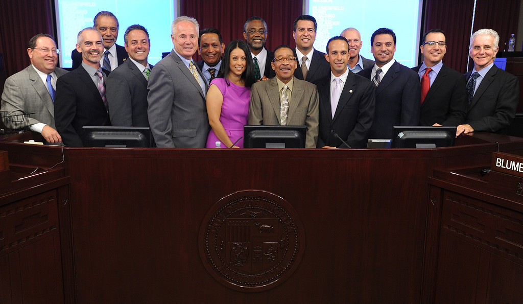 . The entire City Council was on hand as Nury Martinez  sworn into office for District 6. The council met in Van Nuys City Hall. Van Nuys , CA. 8/2/2013(John McCoy/LA Daily News)