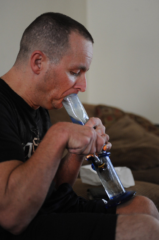 . Medical marijuana user Stevie Zee uses the drug to help him cope with Cerebral Palsy. North Valley Village, CA. 8/8/2013(John McCoy/LA Daily News)
