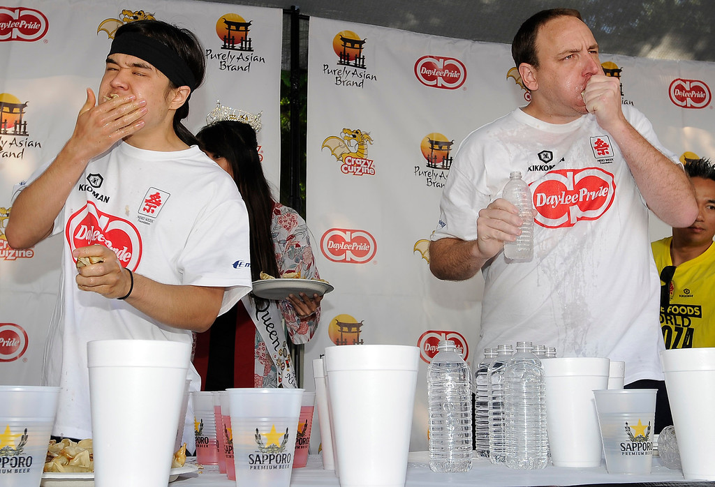 . The World Gyoza Eating Contest is taking place as part of the annual Nisei Week Foundation festival. Matt Stonie of San Jose ended up setting a new world record by eating 268 pot stickers, edging out last years winner Joey Chestnut who ate 251. Los Angeles, CA. 8/17/2013(John McCoy/LA Daily News)