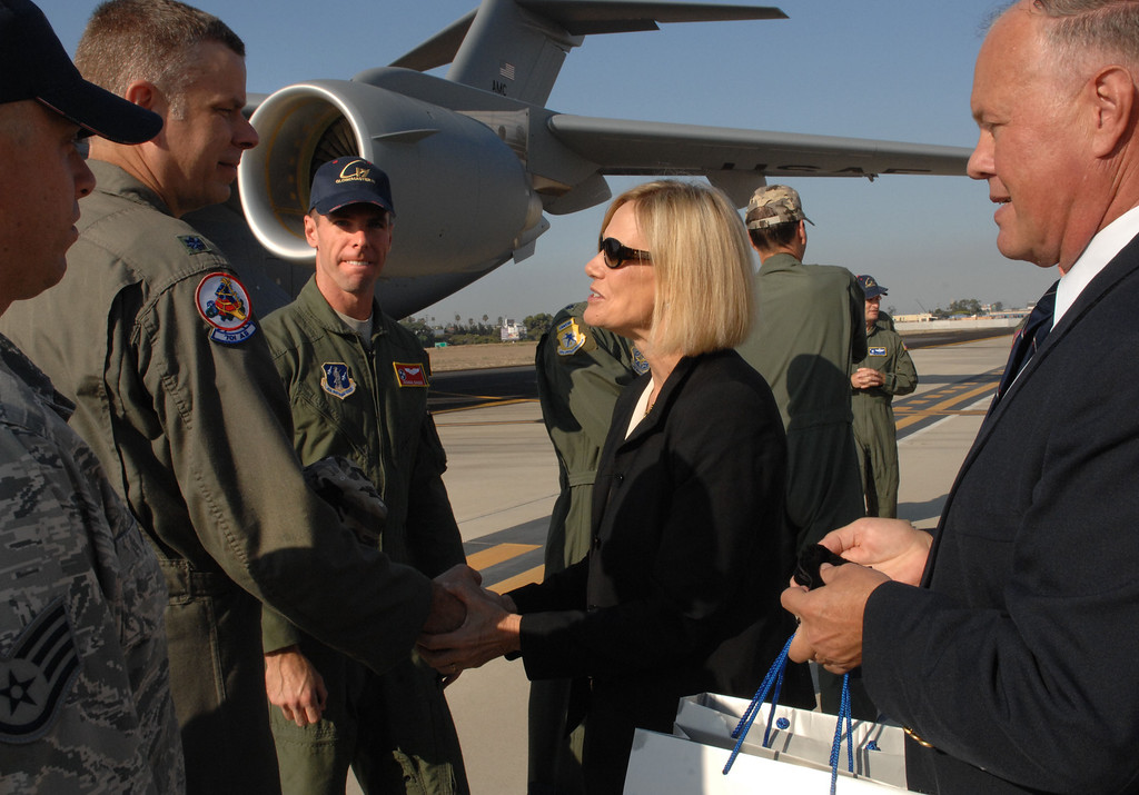 . 9/12/13 - Nan Bouchard, Boeing vice president and C-17 program manager greets military personnel as they take delivery of  the last U.S. Air Force C-17 Globemaster III, fulfilling the production contract, on Thursday morning. (Photo by Brittany Murray/Press Telegram)