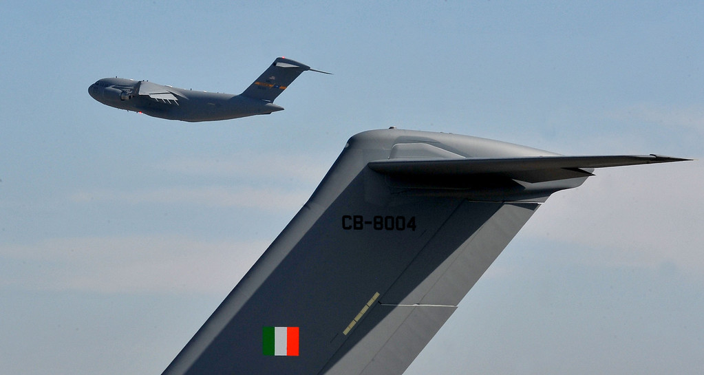 . 9/12/13 - Boeing delivered the last U.S. Air Force C-17 Globemaster III, fulfilling the production contract, on Thursday morning. As the aircraft flew away to Charleston the new era of the program is visible, aircraft for ally countries. (Photo by Brittany Murray/Press Telegram)