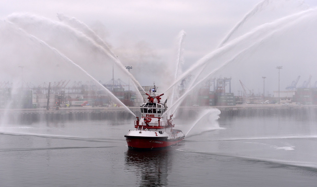. Fireboat from Station 112, San Pedro concluded event with a water display. Observance event to honor 9/11 first responders aboard the USS Iowa in San Pedro. (Wed. Sept 11, 2013 Photo by Brad Graverson/The Daily Breeze