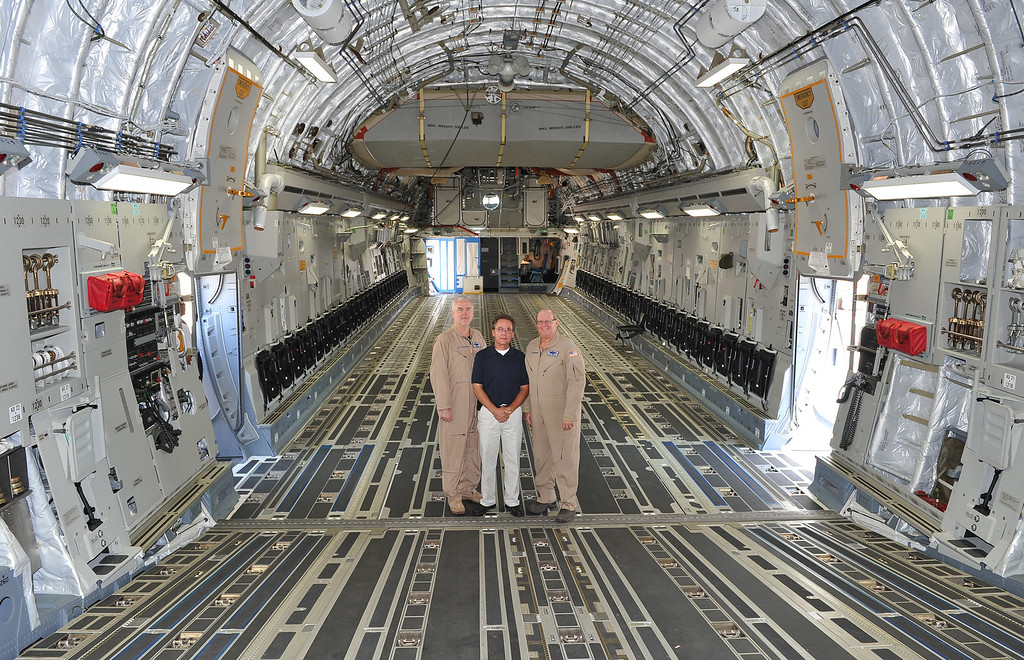 . 8/23/13 - L-R Craig Johnson, John Martinelli and  Joel Brown reflect on their years at Boeing. Boeing prepares to deliver the last domestic C-17 on Sept. 12 to Charleston, S.C., home of the first C-17. Photo by Brittany Murray, Press Telegram