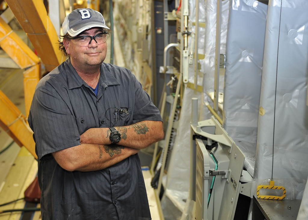 . 8/29/13 - Richard Pepin, aircraft structure mechanic has been with Boeing 27 years. Boeing prepares to deliver the last domestic C-17 on Sept. 12 to Charleston, S.C., home of the first C-17.  Photo by Brittany Murray, Press Telegram