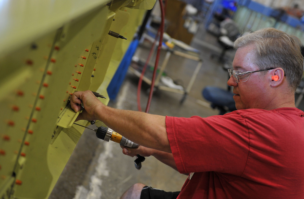 . 8/29/13 - Steve Hackman working on a portion of the wing, takes great pride in his career at Boeing. Boeing prepares to deliver the last domestic C-17 on Sept. 12 to Charleston, S.C., home of the first C-17.  Photo by Brittany Murray, Press Telegram