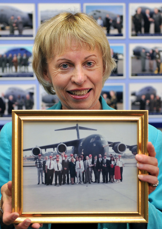 . 8/23/13 - Lynne Jungers was at the first delivery, September 15, 1993 and she will be at the last domestic deliver on September 12, 2013. Boeing prepares to deliver the last domestic C-17 on Sept. 12 to Charleston, S.C., home of the first C-17. Photo by Brittany Murray, Press Telegram