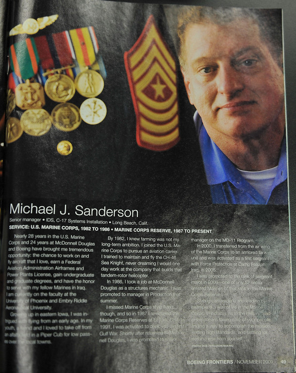 . 8/29/13 - A 2009 article on Michael Sanderson, senior manager frontline operations, for Boeing, 27 years.  Boeing prepares to deliver the last domestic C-17 on Sept. 12 to Charleston, S.C., home of the first C-17.