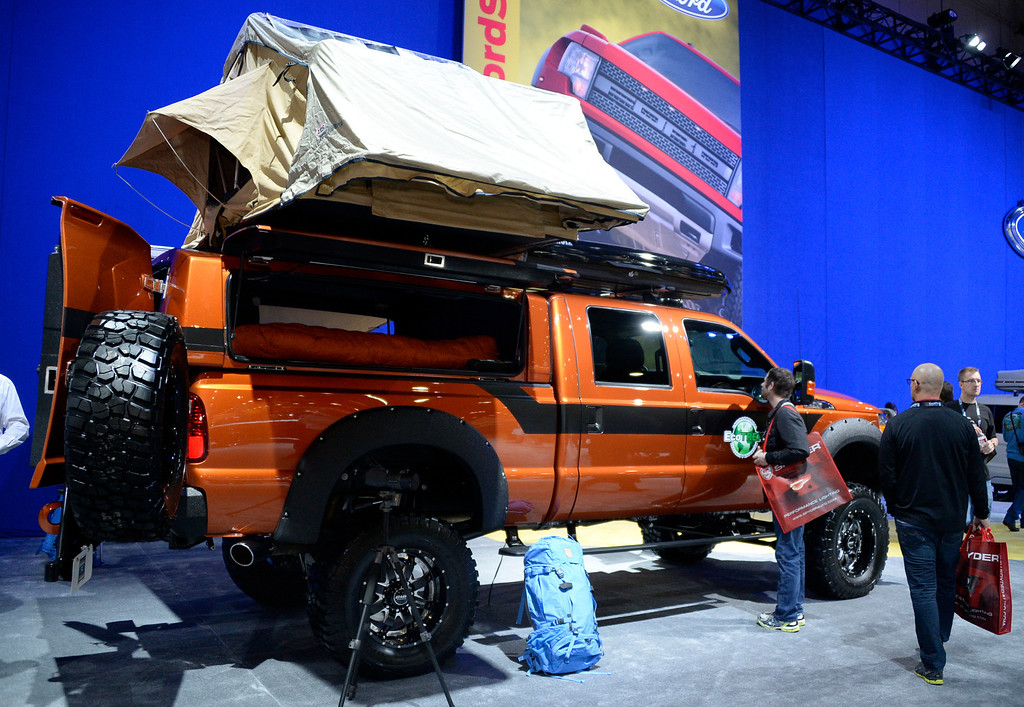 . Nov 5,2013 Las Vegas NV. USA. The Ford 2013 F-350 super duty crew cab Eco-Considerate expedition vehicle by Eco Trek on display during the first day of the 2013 SEMA auto show. (Photo by Gene Blevins/LA Daily News)