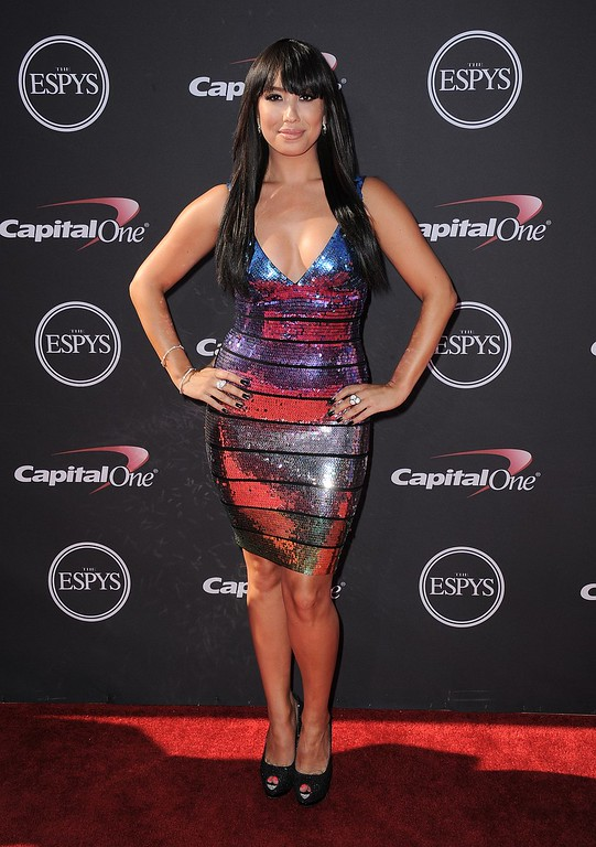 . Dancer Cheryl Burke arrives at the ESPY Awards on Wednesday, July 17, 2013, at Nokia Theater in Los Angeles. (Photo by Jordan Strauss/Invision/AP)
