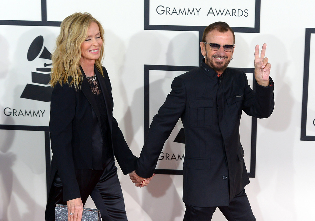 . Barbara Bach and Ringo Starr arrive at the 56th Annual GRAMMY Awards at Staples Center in Los Angeles, California on Sunday January 26, 2014 (Photo by David Crane / Los Angeles Daily News)