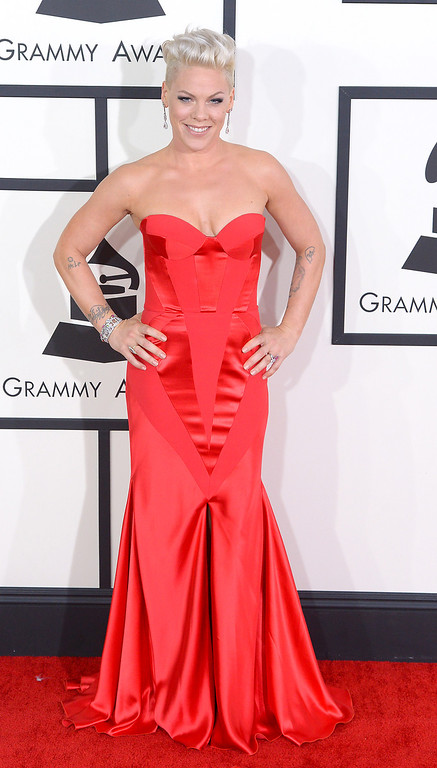 . Pink arrives at the 56th Annual GRAMMY Awards at Staples Center in Los Angeles, California on Sunday January 26, 2014 (Photo by David Crane / Los Angeles Daily News)